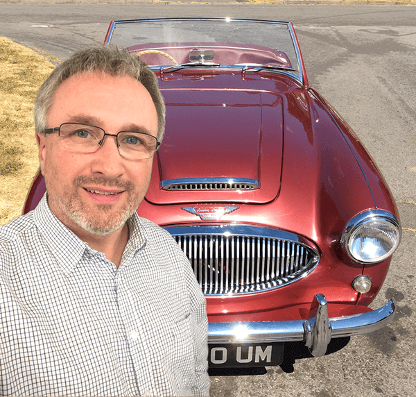 VTT Promotions Team Principal Lloyd Wakelin with Austin Healey 3000 Mk II